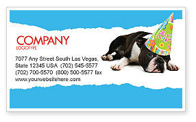Holiday/Special Occasion: Happy Birthday Puppy Business Card Template #05265