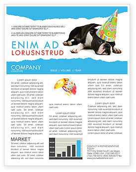 Holiday/Special Occasion: Happy Birthday Puppy Newsletter Template #05265