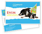 Holiday/Special Occasion: Happy Birthday Puppy Postcard Template #05265