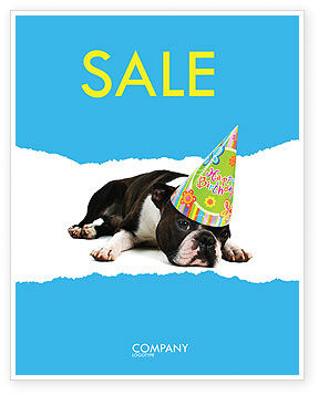 Happy Birthday Puppy Sale Poster Template, 05265, Holiday/Special Occasion — PoweredTemplate.com