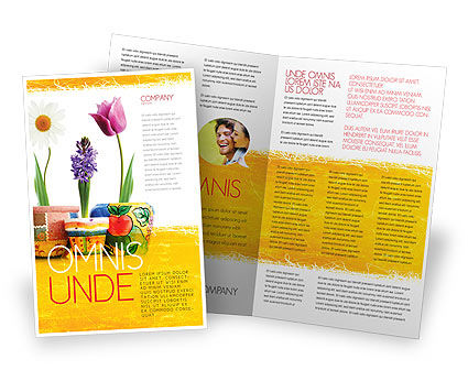 Window Flowers Brochure Template, 05278, Holiday/Special Occasion — PoweredTemplate.com