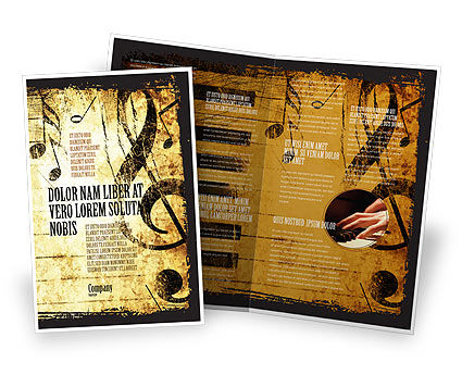 Careers/Industry: Piano Keyboard With Treble Clef Brochure Template #05289