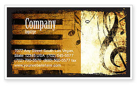 Careers/Industry: Piano Keyboard With Treble Clef Business Card Template #05289