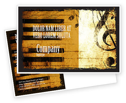 Piano Keyboard With Treble Clef Postcard Template, 05289, Careers/Industry — PoweredTemplate.com