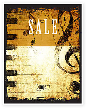 Careers/Industry: Piano Keyboard With Treble Clef Sale Poster Template #05289