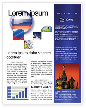 Russian Flag Newsletter Template, 05313, Flags/International — PoweredTemplate.com
