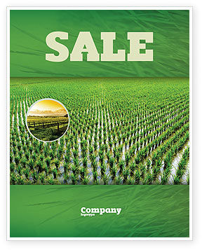 Agriculture and Animals: Rice Paddies Sale Poster Template #05325