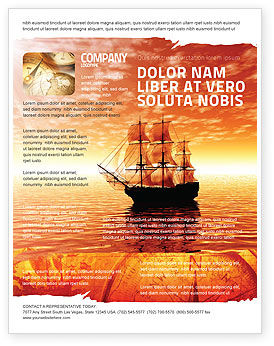 Sailing Ship Flyer Template, 05333, Cars/Transportation — PoweredTemplate.com