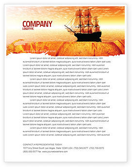 Cars/Transportation: Sailing Ship Letterhead Template #05333