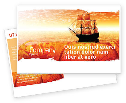 Cars/Transportation: Sailing Ship Postcard Template #05333