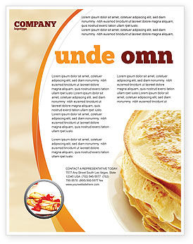 Pancakes Flyer Template, 05343, Food & Beverage — PoweredTemplate.com