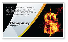 Financial/Accounting: Flaming Dollar Business Card Template #05347