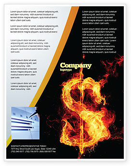 Flaming Dollar Flyer Template, 05347, Financial/Accounting — PoweredTemplate.com