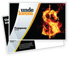 Financial/Accounting: Flaming Dollar Postcard Template #05347