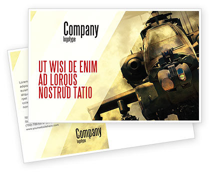 Military: Military Helicopter Postcard Template #05348