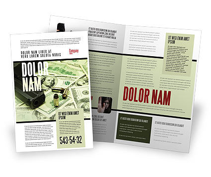 Money and Guns Brochure Template, 05349, Financial/Accounting — PoweredTemplate.com