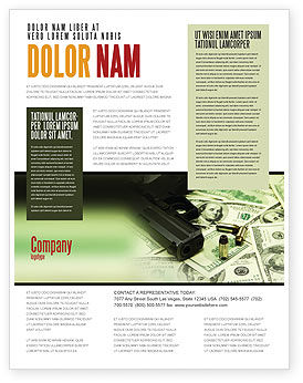 money and guns flyer template background in microsoft word