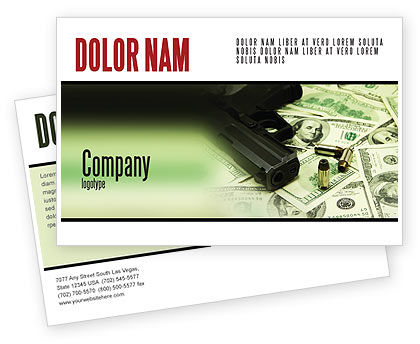 Money and Guns Postcard Template, 05349, Financial/Accounting — PoweredTemplate.com