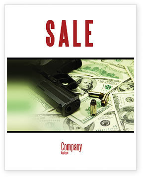 Money and Guns Sale Poster Template, 05349, Financial/Accounting — PoweredTemplate.com