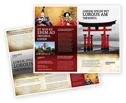 Ancient Japan Brochure Template, 05350, Art & Entertainment — PoweredTemplate.com