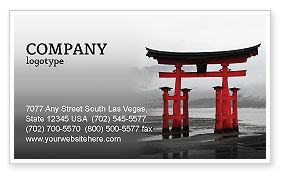 Ancient Japan Business Card Template, 05350, Art & Entertainment — PoweredTemplate.com