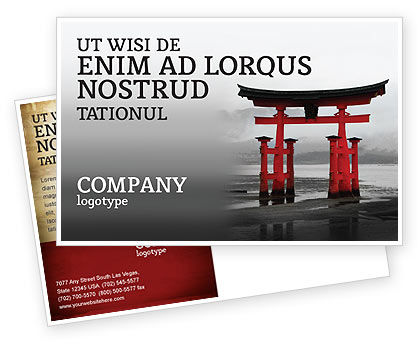 Ancient Japan Postcard Template, 05350, Art & Entertainment — PoweredTemplate.com