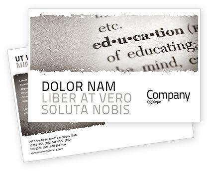 Education & Training: Glossary Postcard Template #05367