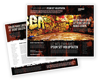 Graffiti Zone Brochure Template, 05376, Art & Entertainment — PoweredTemplate.com