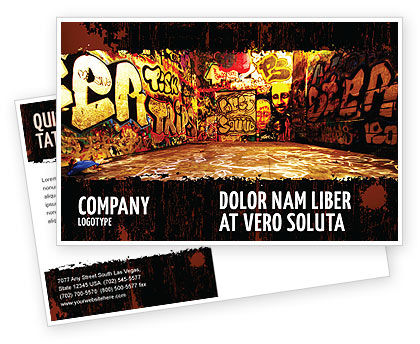 Graffiti Zone Postcard Template, 05376, Art & Entertainment — PoweredTemplate.com