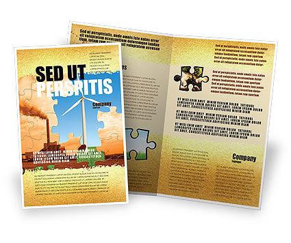 Wind Energy Versus Coal Plant Brochure Template, 05385, Nature & Environment — PoweredTemplate.com