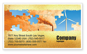 Nature & Environment: Wind Energy Versus Coal Plant Business Card Template #05385