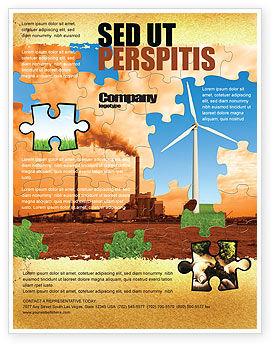 Nature & Environment: Modelo de Folheto - energia eólica versus usina de carvão #05385