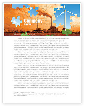 Nature & Environment: Wind Energy Versus Coal Plant Letterhead Template #05385