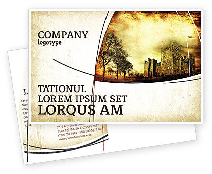 Castles And Fortress Postcard Template, 05396, Education & Training — PoweredTemplate.com