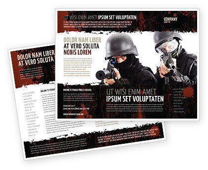 SWAT Brochure Template, 05404, Military — PoweredTemplate.com