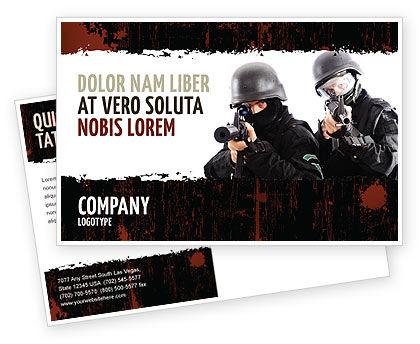 SWAT Postcard Template, 05404, Military — PoweredTemplate.com