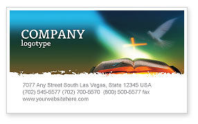 Religious/Spiritual: Bible With Holy Dove Business Card Template #05408