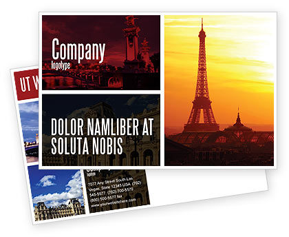 Paris In Collage Postcard Template, 05425, Careers/Industry — PoweredTemplate.com