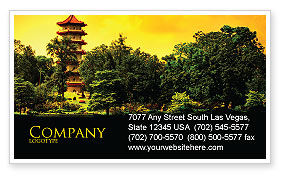 Flags/International: Pagoda Business Card Template #05428