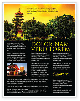 Pagoda Flyer Template, 05428, Flags/International — PoweredTemplate.com