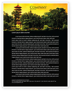 Pagoda Letterhead Template, 05428, Flags/International — PoweredTemplate.com