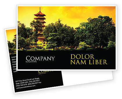 Flags/International: Pagoda Postcard Template #05428