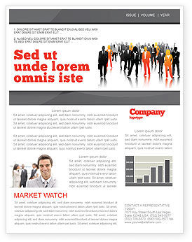 Business Personnel Silhouettes Newsletter Template, 05442, Business — PoweredTemplate.com