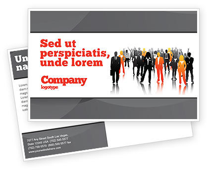 Business Personnel Silhouettes Postcard Template