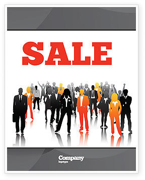 Business: Business Personnel Silhouettes Sale Poster Template #05442