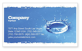 Nature & Environment: Blue water Splash Business Card Template #05444