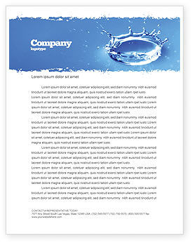 Blue Water Splash Letterhead Template, 05444, Nature & Environment — PoweredTemplate.com