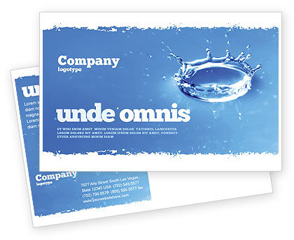 Nature & Environment: Blue water Splash Postcard Template #05444