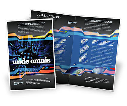 Computer Scheme Brochure Template, 05453, Technology, Science & Computers — PoweredTemplate.com