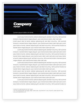 Technology, Science & Computers: Computer Scheme Letterhead Template #05453